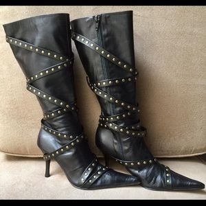 ALEXANDER TOMAS Black Leather Edgy Boots Size 7